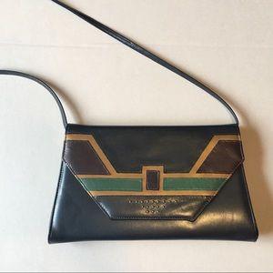 Vintage shoulder bag geometric design faux leather